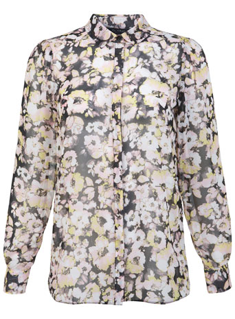 Blurred Floral Shirt - Tops  - Clothing  - Miss Selfridge