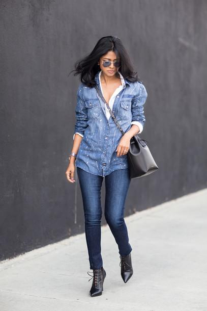 walk in wonderland blogger shirt jeans bag shoes jewels