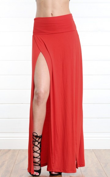 Red Double Slit Jersey Maxi Skirt and Shop Skirts at MakeMeChic.com