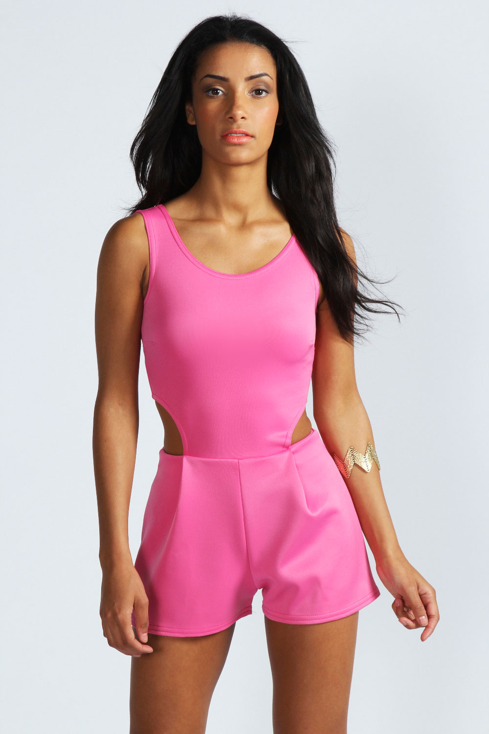 Boohoo Heather Sleeveless Cut Out Scuba Playsuit in Pink | eBay
