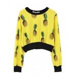 All-over Pineapple Print Crop Sweatshirt - Sweatshirts & Hoodies - Clothing