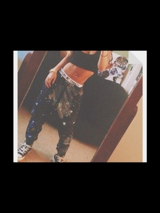 pants galaxy print galaxy pants sweatpants dope trill tommy hilfiger cute pink purple buy wolftyla cosmic