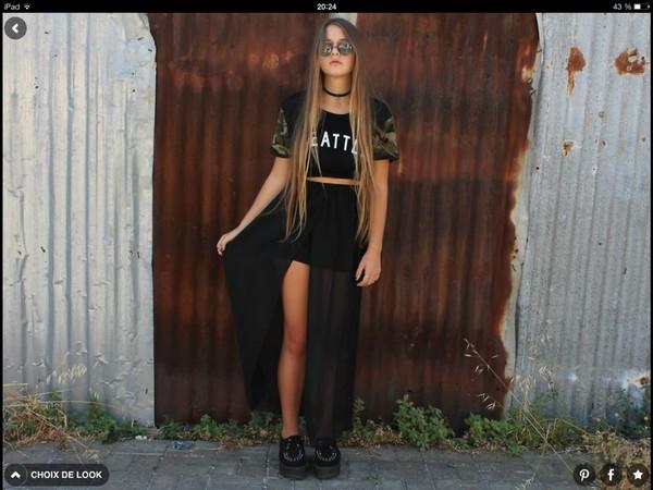 skirt maxi dress camouflage black shirt