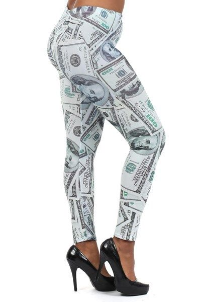 New Womans Plus Size Hundred Dollar Bill Leggings Size XL 2X 3X | eBay