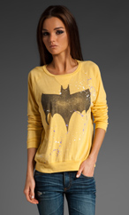 JUNK FOOD Batman Bat Symbol Crew Neck Pullover in Mustard at Revolve Clothing - Free Shipping!