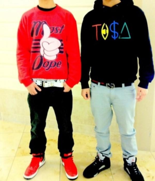 sweater dope red black sweatshirt jeans denim sneakers nike air jordan swag
