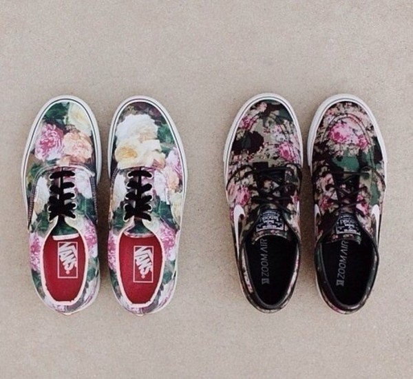 shoes vans flowers nike indie hippie hipster grunge girly tomboy skater floral omf adidas foral supreme summer summer shoes nike sneakers sneakers roses nike sb shoes with flowers vlack black white