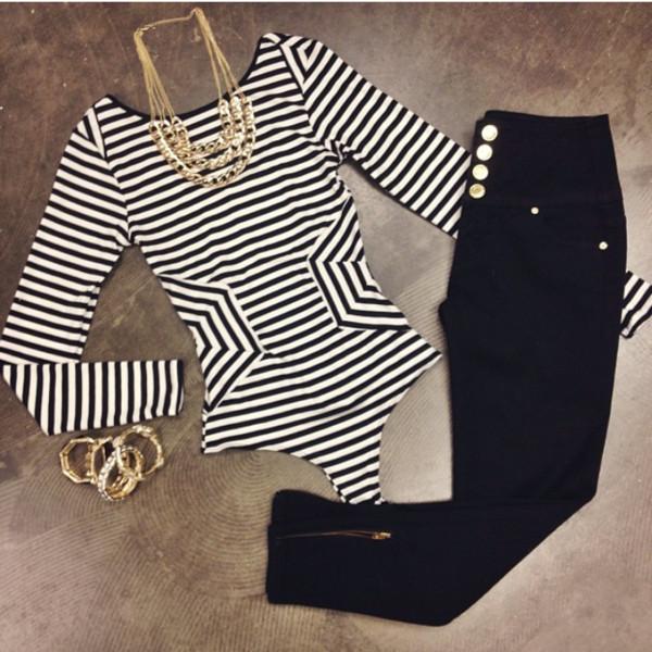 shirt bodysuit stripes black white pants