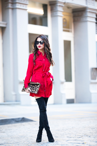 wendy's lookbook blogger dress shoes bag sunglasses red coat over the knee boots pouch printed pouch shirt dress red dress black sunglasses red mini dress pocket dress