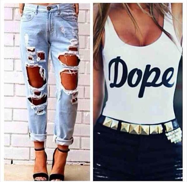 jeans shirt shoes dope swimwear bodysuit white top
