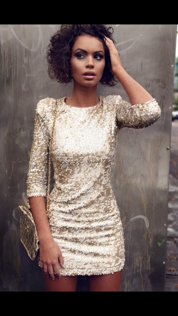 dress glitter dress gold bodycon