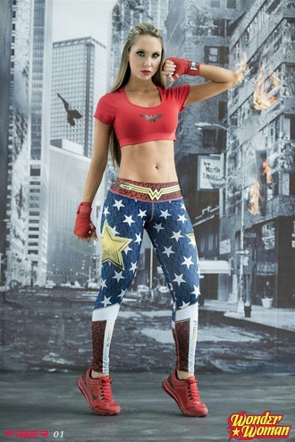 leggings sportswear wonder woman workout leggings superheroes red crop tops stars blue white gold pants halloween