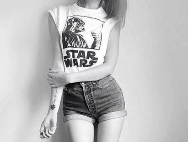 t-shirt star wars black and white shorts denim shorts temporary tattoo High waisted shorts forever 21