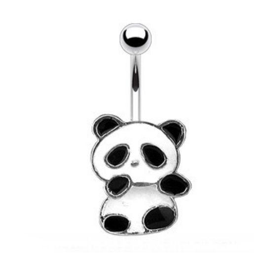 PANDA BEAR BELLY NAVEL RING CUTE DANGLE BLACK/WHITE BUTTON PIERCING JEWELRY | eBay