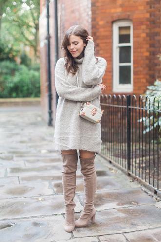 wish wish wish blogger sweater dress shoes bag sweater dress turtleneck dress knee high boots