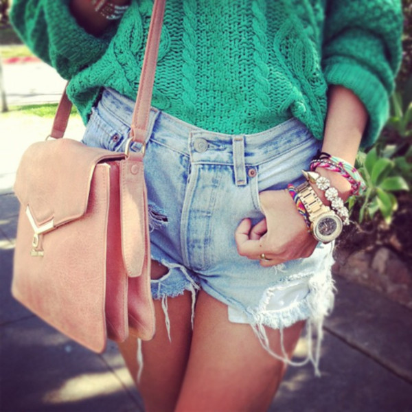 sweater clothes knitted sweater bag jewels shorts