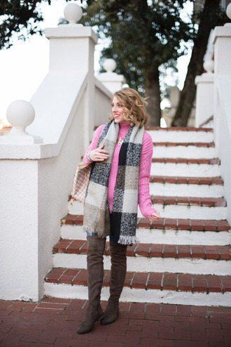 something delightful blogger sweater scarf jewels shoes pink sweater boots thigh high boots