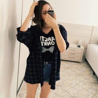 shirt jaket black grunge chemise shift square square ring plaid shirt flannel shirt black t-shirt