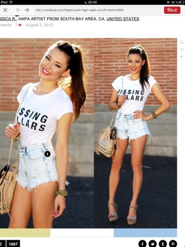 t-shirt girly High waisted shorts high heels hipster tmblr white t-shirt money shorts