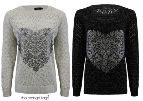 sweater heart jumper grey black knitwear pullover cute winter outfits valentines day