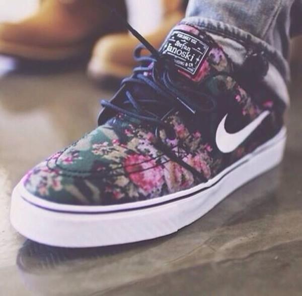 shoes nike nike sb floral flowers