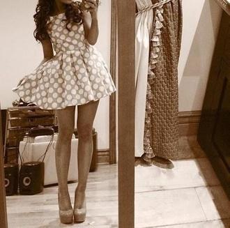dress polka dots dotted white clothes girl beautiful fashion shirt