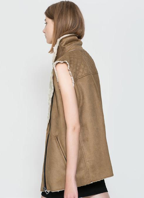 Camel Fur Lined Lapel Zipper Vest - Sheinside.com