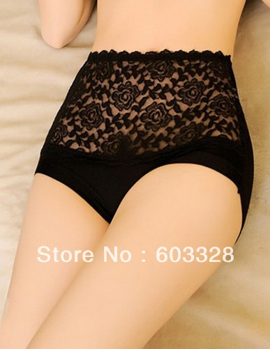 Sexy Women Bamboo Fiber Lace High Waisted Girdle Underwear Panty Tummy Knicker-in Briefs from Apparel & Accessories on Aliexpress.com