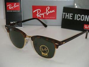 Ray Ban Clubmaster RB3016 Tortoise Gold Frame Green 51mm | eBay