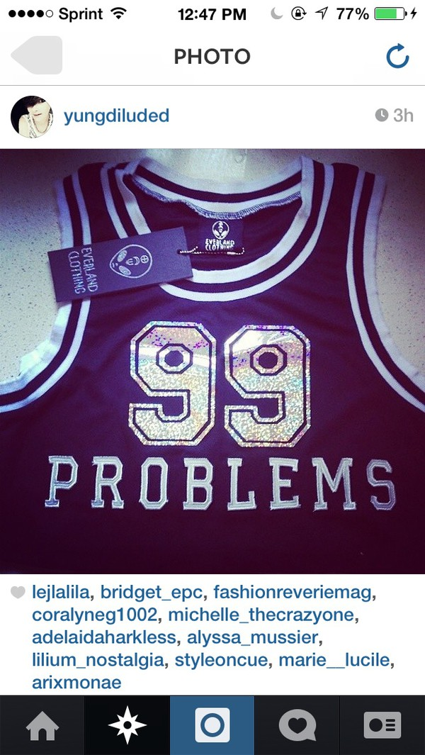 tank top black holographic 99 problems jersey