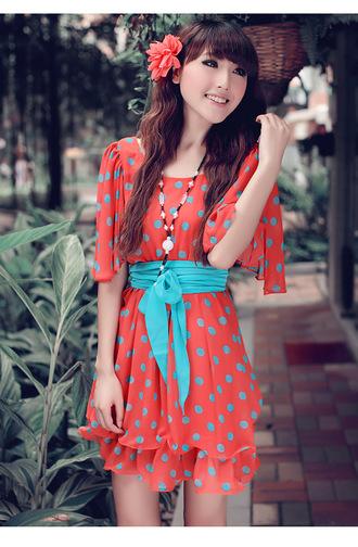 dress pink beautiful dotted