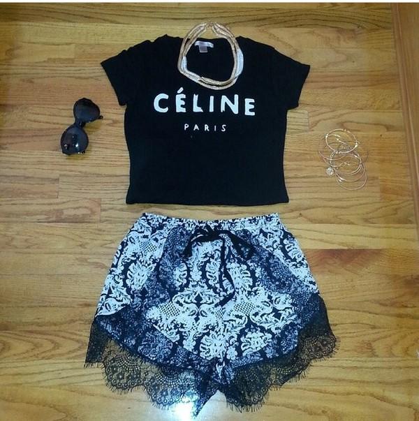 floral shorts celine celine shirt shirt