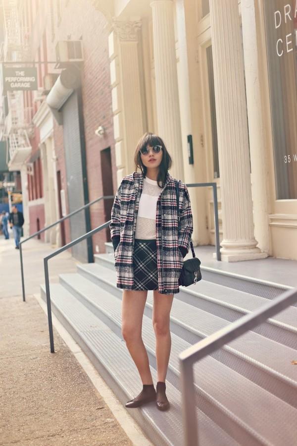 natalie off duty coat skirt sweater bag sunglasses
