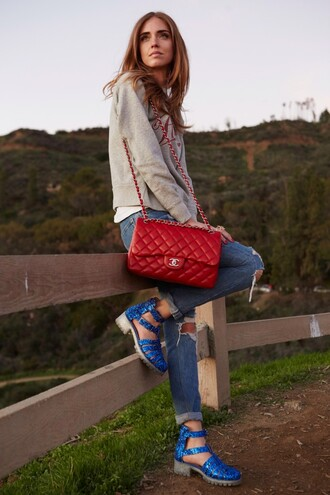 the blonde salad blogger jeans sweater red bag jellies blue shoes shoes t-shirt bag
