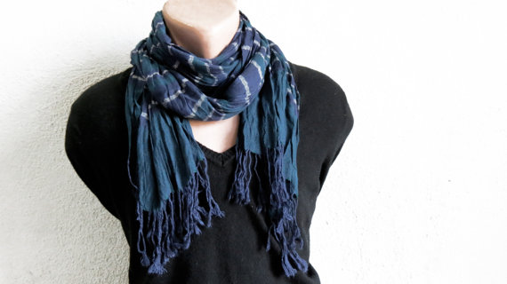 Men Scarf Navy indigo Blue. Fabric Scarf Fashion by MenAccessory