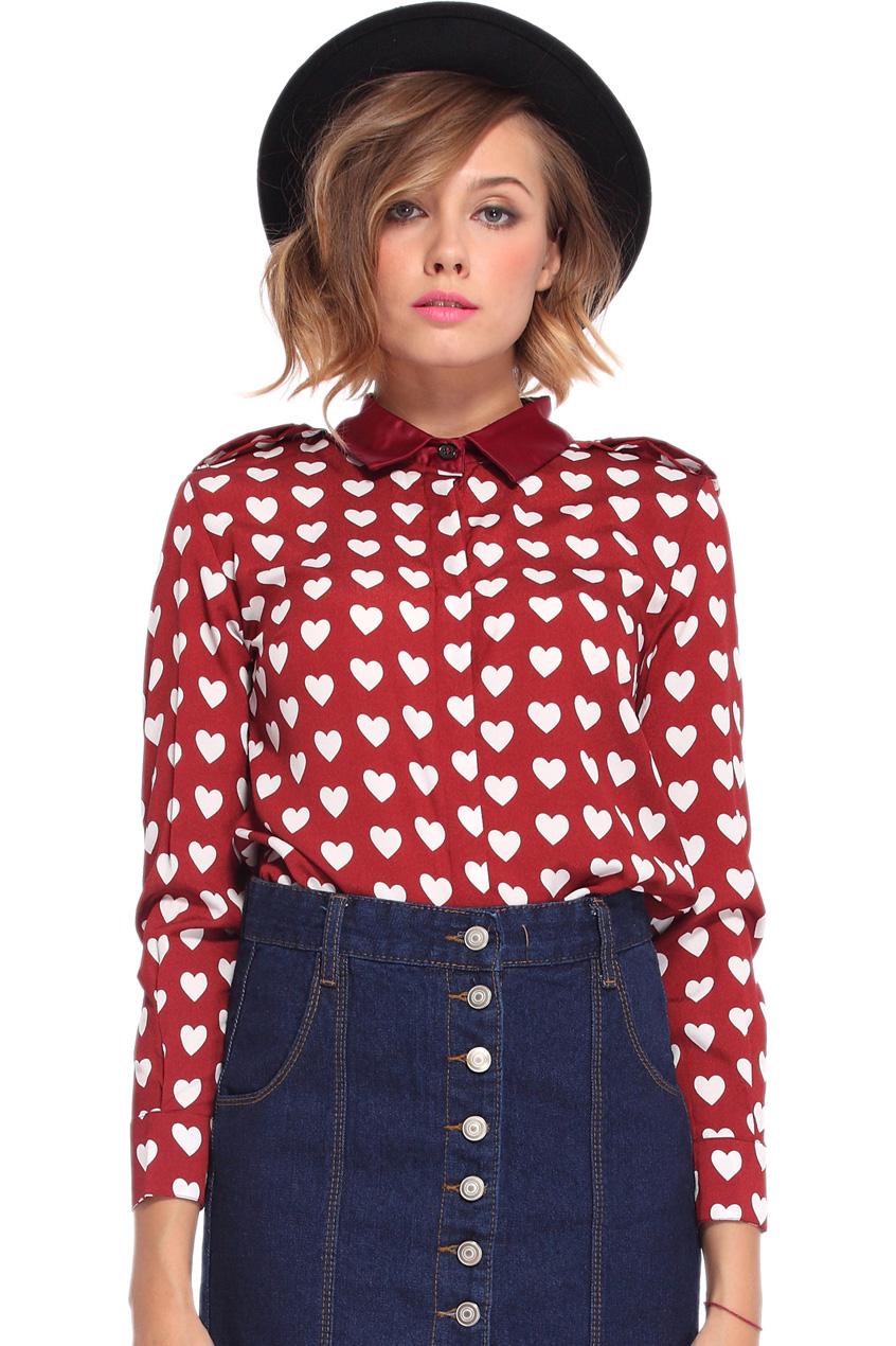 ROMWE   White Heart Pattern Red Chiffon Shirt, The Latest Street Fashion