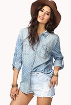 Life In Progress™ Geo Chambray Shirt | LOVE21 - 2048438584