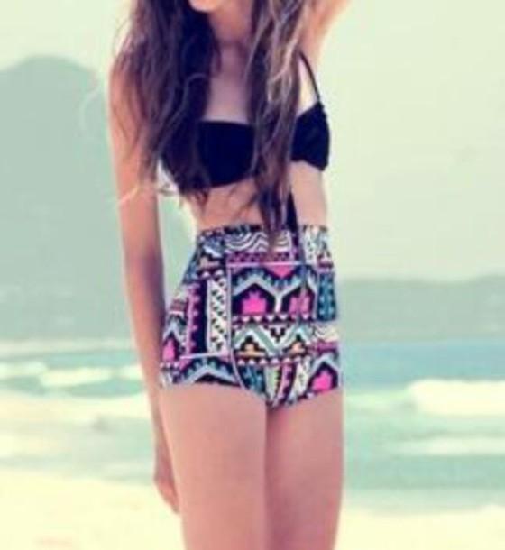 swimwear colorful shorts tribal pattern swimwear bottoms