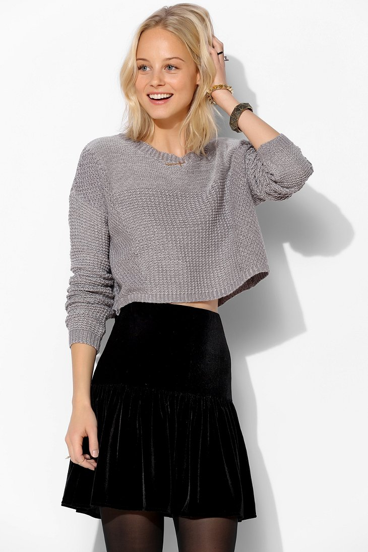 Silence   Noise Stitch Cropped Sweater  - Urban Outfitters