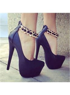 Sexy Black Suede Metal Ankle Strap Platform High Heel Shoes