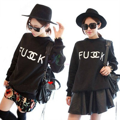 """""""LASION"""" Women Fashion Pullovers Fuck C Letter Print Polyester fabric cottom mixed SweaterTops sweatshirt#7009-in Hoodies & Sweatshirts from Apparel & Accessories on Aliexpress.com"""