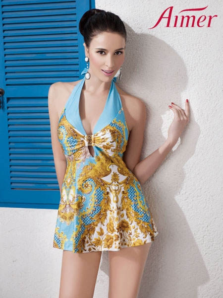 Baroque Grandeur Skirts Style Tankini In Blue | Choies