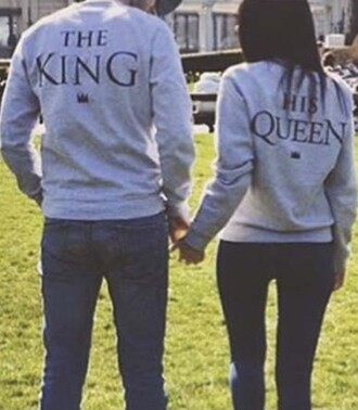 sweater grey cool couple sweaters fashion casual style queen king quote on it winter sweater beautifulhalo
