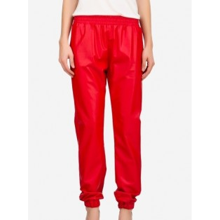 Red Faux Leather Joggers