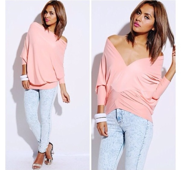 blouse pastel pink blouse acid wash jeans high waisted skinny light blue jeans jeans shoes