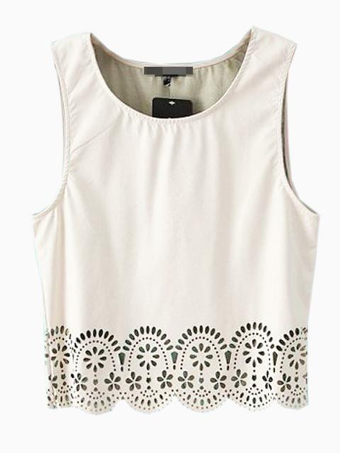 White PU Vest With Hollow Out | Choies