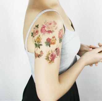 jewels fake tattoos flowers cute tattoo