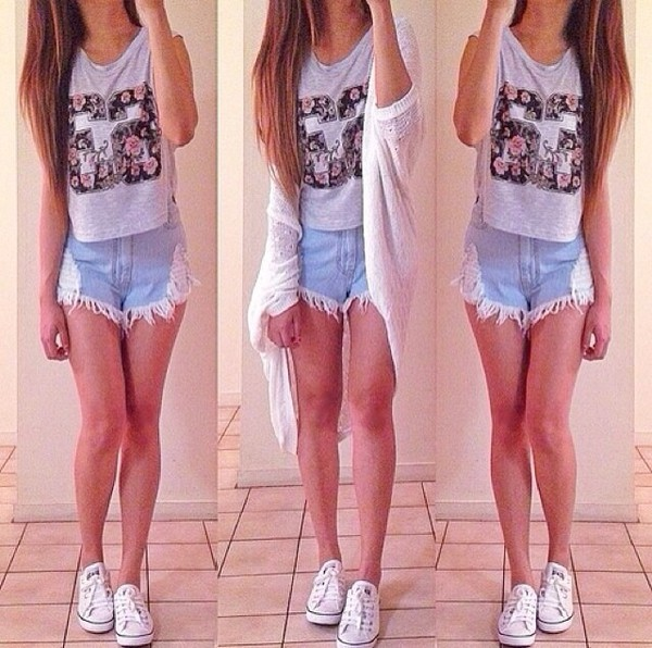 denim denim shorts floral tank top 66 cardigan summer outfits outfit pretty style ootd long cardigan tank top shorts