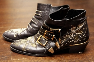 chloe studs black shoes shoes boots leather low boots