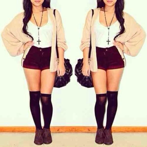 shorts shoes sweater cardigan jacket